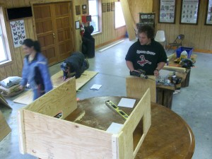 Critter-Proof Composter forms under construction at Camp Mason